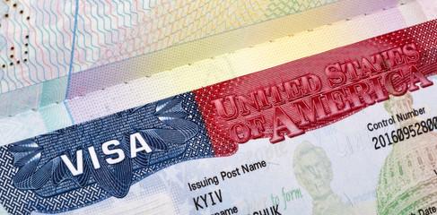 American Visa in the passport closeup.