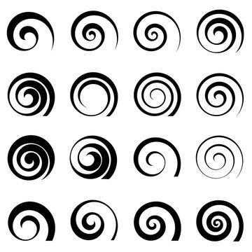 A set of swirl spiral elements, isolated vector graphic