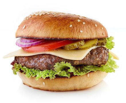 Cheeseburger on white background