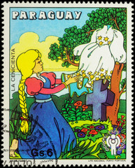 Cinderella and her new dress - scene from a fairy tale on postag
