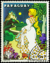Cinderella going to the castle - scene from a fairy tale on post