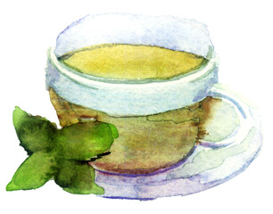 watercolor cup of tea on white