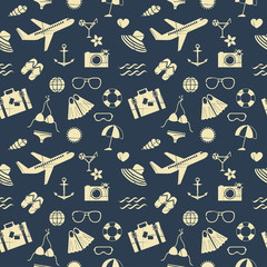 summer seamless pattern with removable vintage effect