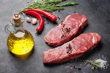 Raw striploin steak