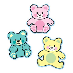 Pastel colored stuffed baby teddy bears blue pink yellow