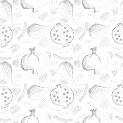 Seamless vector gray pattern with hand drawn pomegranates, leaves and scribbles on the white background. Series of Cartoon, Doodle, Sketch and Scribble Seamless Patterns.