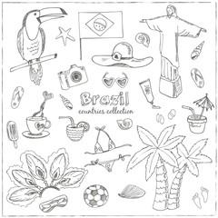 Hand drawn doodle Brazil symbols set.