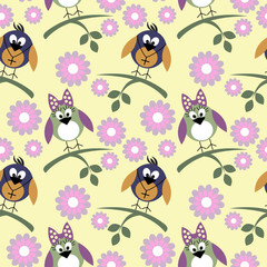 Seamless vector pattern with animals, cute background with birds, flowers and branch with leaves. Series of Animals and Insects Seamless Patterns.