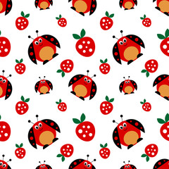 Seamless vector pattern with insects, symmetrical background with bright cute comic ladybugs and strawberries, on the white backdrop. Series of Animals and Insects Seamless Patterns.
