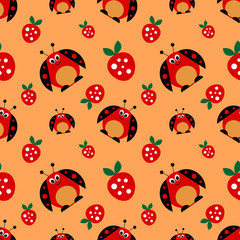 Seamless vector pattern with insects, symmetrical background with bright cute comic ladybugs and strawberries, on the red backdrop. Series of Animals and Insects Seamless Patterns.