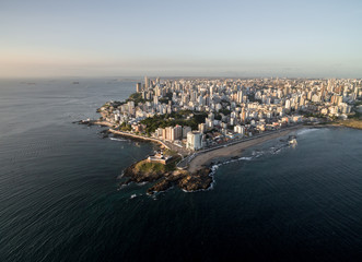 Aerial view of Barra Lighthouse and Salvador cityscape, Bahia, Brazil
