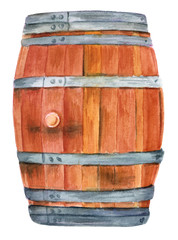 Watercolor drawing of old wine barrel, on white