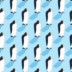 Penguins seamless pattern. Arctic animals texture. Birds Antarct