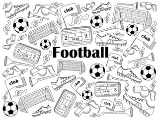 Football colorless set vector illustration