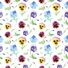 Floral seamless pattern.Pansy flowers.Watercolor hand drawn illustration.Violets on a white background.