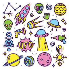 Hand drawn cartoon Alien space vector set