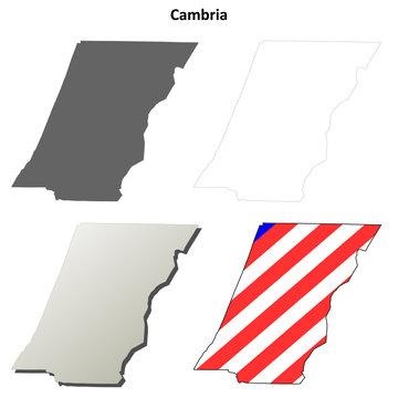 Cambria County, Pennsylvania outline map set