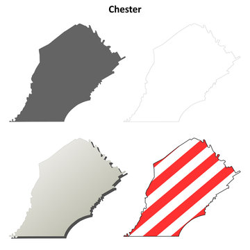 Chester County, Pennsylvania outline map set
