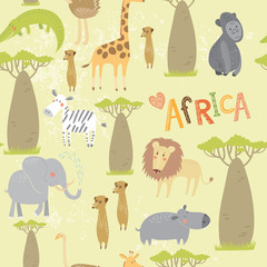 Seamless pattern with animals of Africa: elephant, zebra, lion, hippo, ostrich, meerkats, giraffe, crocodile. Vector background.