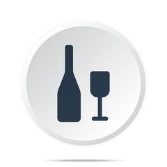 Black Wine icon on white web button