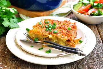 Potato-Kugel Casserole. Jewish cuisine.