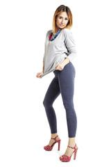 Girl in leggings and heels