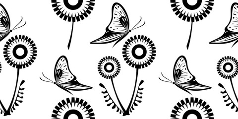 Seamless vector black and white pattern with dandelions and butterflies on the white background.