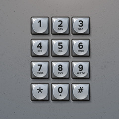 Vector Metal Keypad. Phone keypad buttons template
