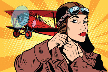 Girl retro military pilot Fototapete