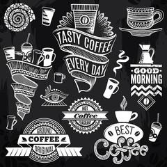 Chalk-drawn Decor Coffee Elements