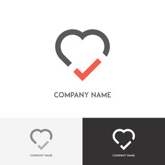 Love logo - heart with tick on the white background