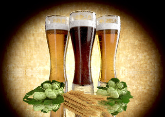 black and classic beer, barley, hops  - 3D render