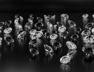Diamonds on black background.