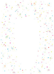 Happy Birthday tinsel and confetti on white background
