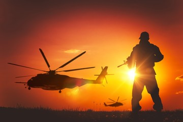 Military Mission at Sunset Wall mural