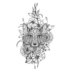 hand drawn ink doodle fox and flowers on white background. Coloring page - zendala, design for adults, poster, print, t-shirt, invitation, banners, flyers.