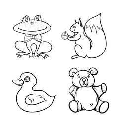 hand drawn vector children's coloring book with duck, frog, Teddy bear, squirrel. vector eps 10