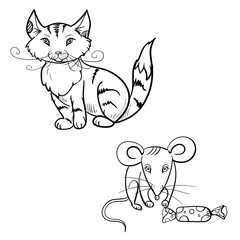 hand drawn vector children's coloring book of cat, mouse with candy. vector eps 10