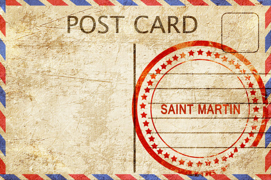 Saint martin, vintage postcard with a rough rubber stamp