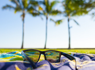Summer holidays. closeup of sunglasses in a tropical beach park.