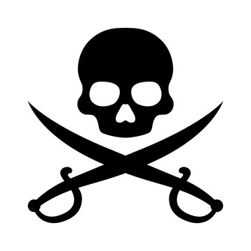 Pirate / piracy with skull and crossed swords flat icon for apps and websites
