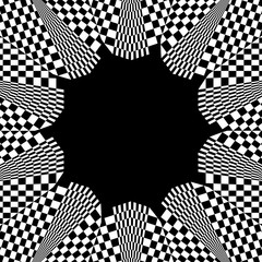 Checkered circular element. Abstract monochrome graphic with squ
