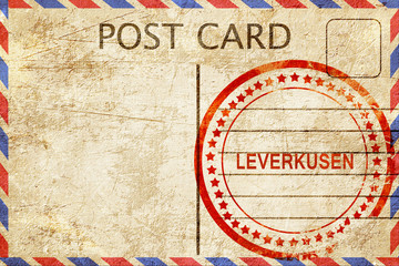 Leverkusen, vintage postcard with a rough rubber stamp
