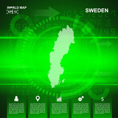 Map Of Sweden,Abstract Green background, pixel vector illustration