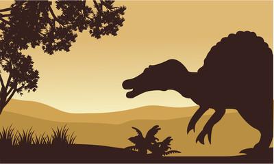 Landscape of spinosaurus in hills