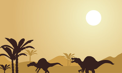 Silhouette of spinosaurus at noon