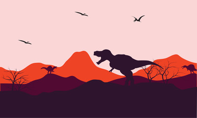 Silhouette of one T-Rex in hill