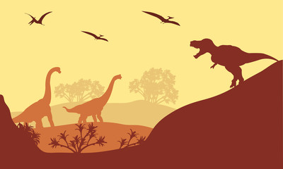 Beautiful scenery dinosaur of silhouette