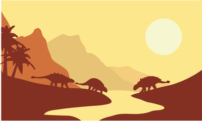 Silhouette of ankylosaurus at the morning