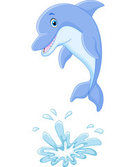 Cute cartoon dolphin jumping out of water